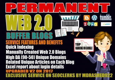 Handmade 15 Web 2.0 Buffer Blogs with login,unique Content, Image, Video and High DA Backlinks