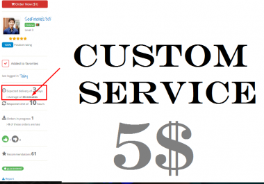 Custom Service Just for my Honorable client