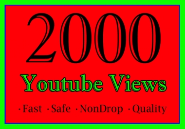 2,000 YouTube Views Or 2K Or 2000 Youtube Video View
