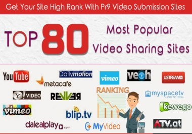 I WILL MANUALLY SUBMIT VIDEO, 80 VIDEO SHARING SUBMISSION PR9 SITES TOP GOOGLE RANKING WITH MOZ DOMAINS SKYROCKET V 4.0 2017 VIDEOSHARE FOR HIGHER SEARCH ENGINE RANKINGS RANK 1 ON GOOGLE, YAHOO & BING