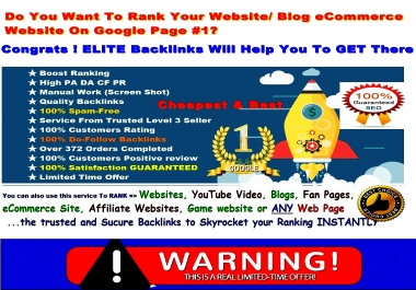 NEW 510+ Elite BOOSTER- Rank Your Website In Google With ELITE Backlinks 500+ AUTHORITY Pr 7 - 9 High PA DA TF CF Backlinks To Boost Your Ranking Instantly-GUARANTEED Ranking-with Bonus HURRY Now