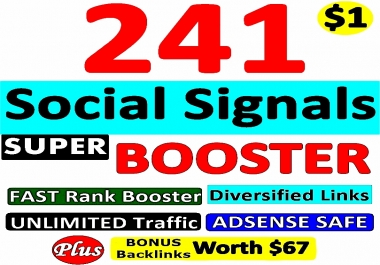 241 SUPER BOOSTER SOCIAL SIGNAL Backlinks- Verified AUTHORITY Google Page #1 Ranking SOCIAL SIGNALS From Pr 7 - 9 High PA DA TF CF Backlinks -GUARANTEED Backlinks-with Bonus HURRY Now