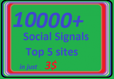10000+ HQ Social Signals from 5 best Social Media sites PR9 Googleplus LinkedIn Pinterest Twitter