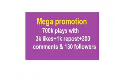 Mega Soundcloud promotion 700k plays with 3k likes 1k repost 300 comments & 130 followers