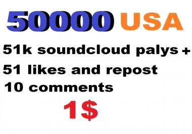 51k USA soundcloud plays 51 soundcloud likes 51 repost 10 comments