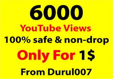 Get 6,000 non-drop You.Tube Views within 24-48 Hours