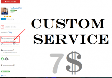 Custom Order Service Just for my Honorable client