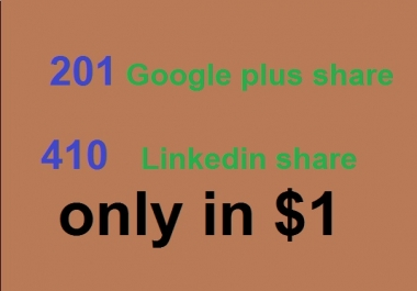 201 Google plus share signals 410 LinkedIn Share  for only on In / -  $2