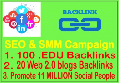 SEO & SMM Campaign- 100 EDU Backlinks-20 WEB2.0 Backlinks- Promote 11 Million Social fans