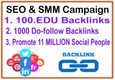 SEO & SMM Campaign - 100 .EDU Backlinks- 1000 Do Follow Backlinks - 11 Million Social Promotion