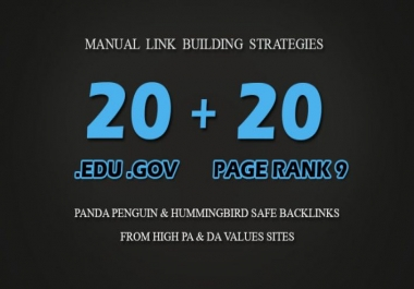 20 PR9 + 20 EDU/GOV Blog comment Dofollow Backlinks