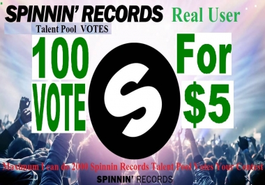 100 Spinnin Records Talent Pool Votes from real USA people  around