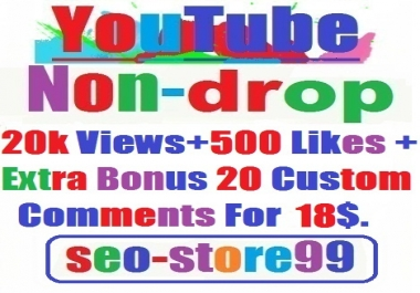 Super Fast 20,000 Views+500 Likes+Bonus 20 Custom Comments within 96---192 hours