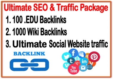 Ultimate SEO & Traffic Package-  100 .EDU  backlinks -1000 Wiki backlinks- Unlimited Social website Traffic