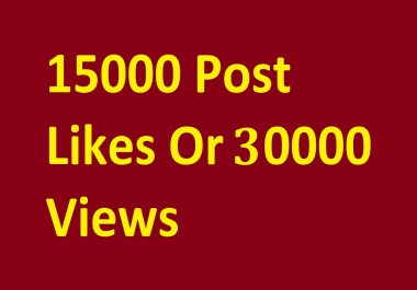 Instant start 15000 photo likes or 30000 video view promotion