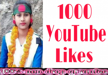 Guaranteed high quality  1k YouTube likes NON -DROP very fast delivery in 2-8 hours just complete