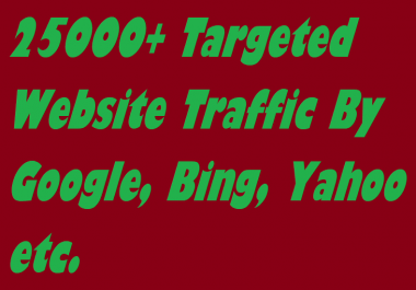 Drive 25000 Targeted Website Traffic By Google, Bing, Yahoo etc.