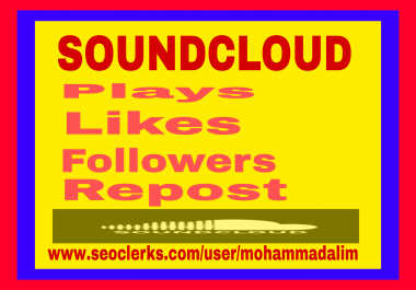 Instant provide you 35 soundclou custom comments, 35 likes, 35 reposts and 10 followers