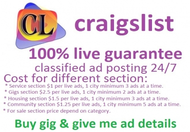 Craigslist ad posting for you