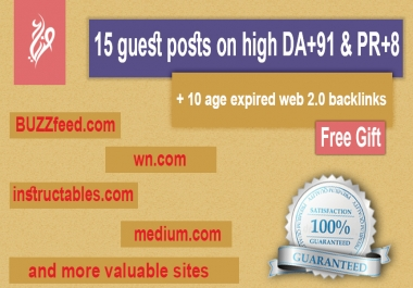 15 guest post on high DA +91 and traffic sites like Medium, Quora, World News, , ....etc