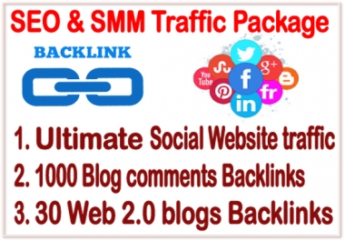 SEO & SMM Traffic Package - Unlimited Social Web Traffic- 1000 Blog Comments Backlinks - 30 Web2 Backlinks