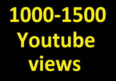 Instant Start 1000 to 1500 High Quality YouTube Views Non Drop Refill Guaranteed in 24-48 hours Completed