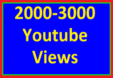 Instant Start 2000 to 3000 High Quality YouTube Views No Refill Guaranteed in 24-48 hours Completed