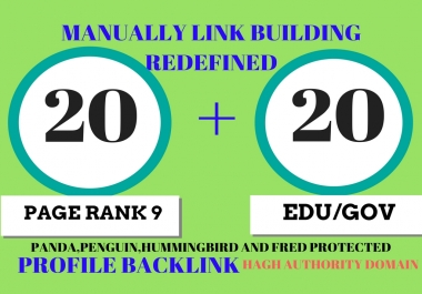 20 Pr9 + 20 Edu - Gov High Pr SEO Authority Backlinks - Fire Your Google Ranking for