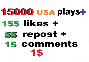 15000 usa high retention soundcloud plays 155 likes 75 repost and 15 comments