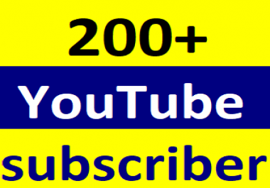 200+Youtube channel subcriber non drop life time guaranteed 2-4 hours in complete