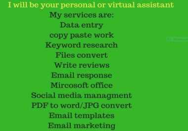 Be Your Virtual Or Personal Assistant per 7 days