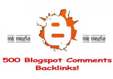 create 500 blogspot comment backlinks ....