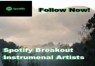 Add Your Track to Our Spotify Breakout Instumental Artists Playlist Over 900 Followers!