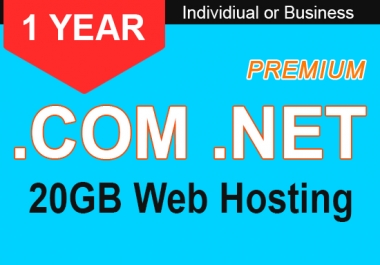 1 Year Top-Level Domain With Premium 20BG Web Hosting