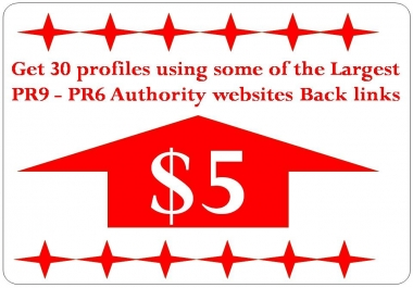 Get 60 profile BackLinks with PR9 - PR6 Authority websites Back links