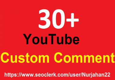 30+YouTube Custom Comments+30 YT Likes Bonus OR 300+YT Likes 1-3 Hours In Complete