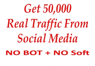 Real 50,000 + Web Traffic WORLDWIDE from Search Engine and Social Media