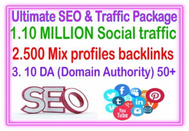 SEO & Social  Campaigns- 10 Million Social traffic- 500 Mix Profiles Backlinks - 10 DA (Domain Authority