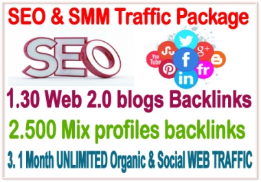 SMM Traffic  & SEO Best Pak- 30 WEB 2.0 Blogs Backlinks- 500 Mix Profiles Backlinks- 1 Month Unlimited web traffic