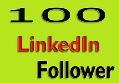 add 100 HQ LinkedIn follower for company page or profile