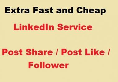 Provide 200 LinkedIn post SHARE or 100 LlKE or F0LL0WER