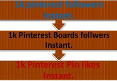 Pinterest Boost 1k pinterest follower OR 1k Pinterst Boards follwers OR 1k Pintrest Pin like instant