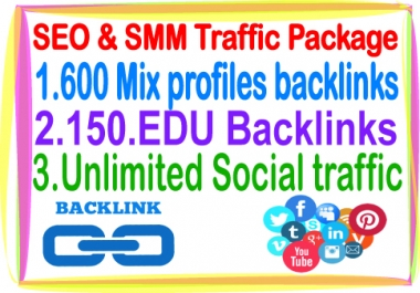 Most Popular SEO & SMM Package on SeoClerks- 600 Mix profiles Backlinks- 150 Edu Backlinks- Unlimited Social traffic