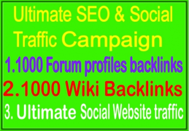 Fantastic Campaign- Unlimited Social traffic- 100 Forum Profiles Backlinks - 1000 wiki Backlinks