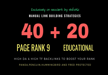 60 high PR backlinks, from authority domains