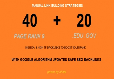 I will do 60 high PR backlinks, from authority domains