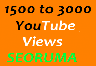 Super fast 1000 to 1500 High quality YouTube views non drop