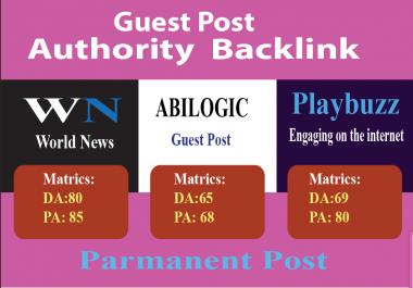Publish High Quality Guest Post On  3 sites abilogic Da65,Wn Da80 Playbuzz Da69