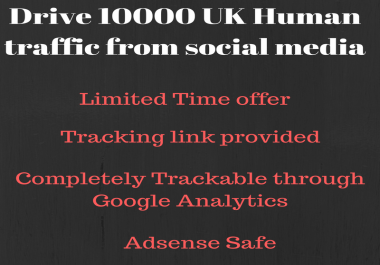 Drive 10000 real human traffic from United Kingdom