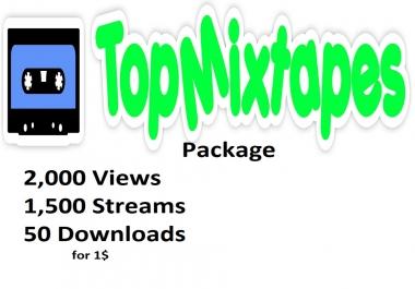 Topmixtapes 2,000 views   1,500 streams 10 downloads